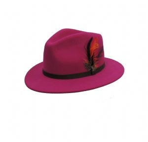 Hot Pink  Pure Wool  Large Brim  Fedora Hat